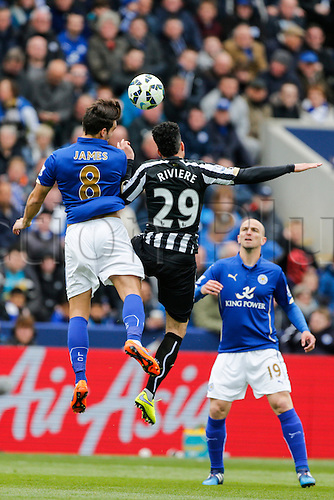 02.05.2015.  Leicester, England. Barclays Premier League. Leicester City versus Newcastle United. Matthew James of Leicester City and Emmanuel Riviere of Newcastle United compete for the ball.