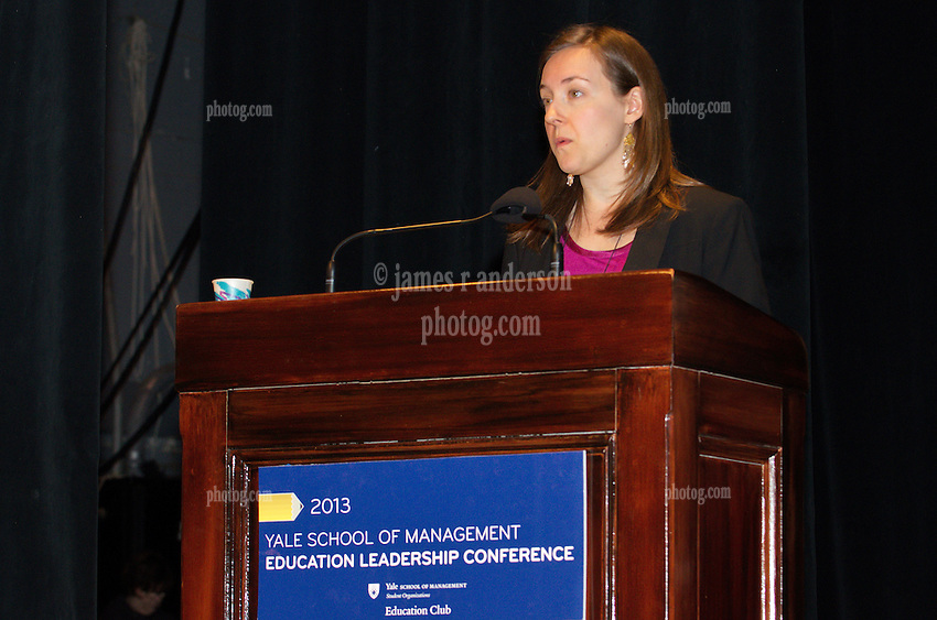 Co-chair Anna Grotberg. Yale SOM Education Leadership Conference. Friday Morning Keynote Speakers, Providence, RI Mayor Angel Taveras and Louisiana State Superintendent John White. 5 April 2013.