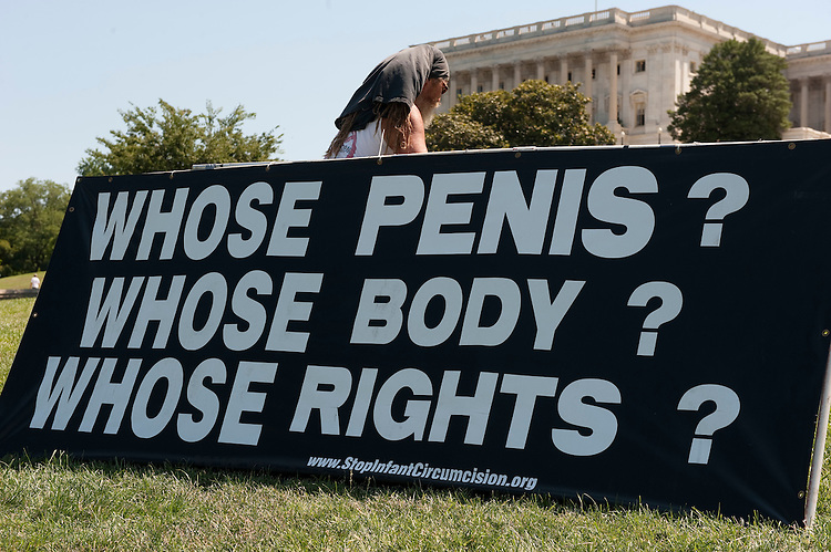 "UNITED STATES - : Protesters ""erect"" signs in front of the U.S. Capitol to protest infant circumcision the event was sponsored by ""Demonstration Against Infant Circumcision"". The event started on June 13th and runs until June 18th. (Photo By Douglas Graham/Roll Call via Getty Images)"