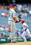 8 September 2011: Los Angeles Dodgers pitcher Chad Billingsley walks back up the mound after serving up a two-run homer to Washington Nationals' Jayson Werth in the 3rd inning at Nationals Park in Washington, DC. The Dodgers defeated the Nationals 7-4 to take the third game of their 4-game series. Mandatory Credit: Ed Wolfstein Photo