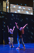 "Katherine Morland, who has Down's Syndrome, rehearsing her dance routine with choreographer, Hannah Greenslade.  Special Olympics Surrey put on a show,   ""Beyond the Stars"", at the Rose Theatre, Kingston upon Thames to raise money for the  SOGB team.  The Special Olympics are for athletes with learning disabilities."