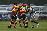 Jordan ELS of Ealing Trailfinders is tackled during the Championship Cup match between Ealing Trailfinders and Richmond at Castle Bar , West Ealing , England  on 15 December 2018. Photo by David Horn.
