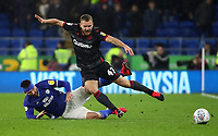 31st January 2020; Cardiff City Stadium, Cardiff, Glamorgan, Wales; English Championship Football, Cardiff City versus Reading; George Puscas of Reading is fouled by Sean Morrison of Cardiff City