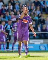 Peter Hartley of Plymouth Argyle barks orders during the Sky Bet League 2 match between Wycombe Wanderers and Plymouth Argyle at Adams Park, High Wycombe, England on 12 September 2015. Photo by Andy Rowland.