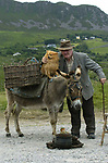 Waiting for he yanks to come is Jack Lynch from Ballycleeve as he poses with his donkey and dog on the Ring of Kerry on Tuesday.<br />  Don MacMonagle