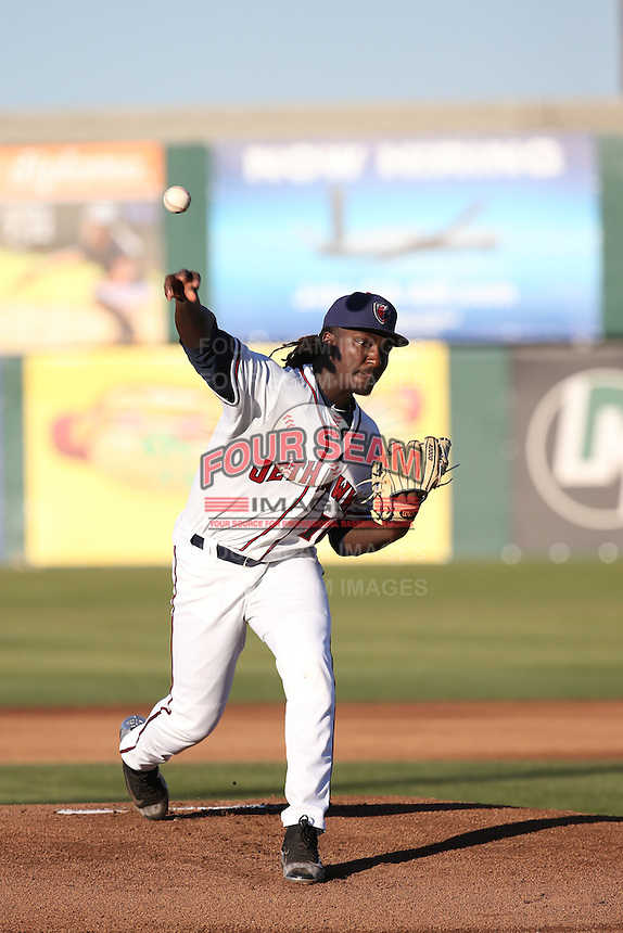 Akeem Bostick (10) of the Lancaster JetHawks pitches against the High Desert Mavericks at The Hanger on April 16, 2016 in Lancaster, California. Lancaster defeated High Desert, 3-2. (Larry Goren/Four Seam Images)