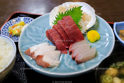 A raw fish sliced (Sashimi) dish in Minamisanriku Sansan Market on February 10, 2016, Miyagi Prefecture, Japan. <br /> A few weeks before of the fifth anniversary of 2011 Tohoku Earthquake and Tsunami, the Japanese government announced that the second half of the reconstruction work in the Tohoku area is expected to be concluded before the 2020 Tokyo Olympics begin. <br /> According to the official Reconstruction Agency's website approximately $250 billion were allocated to the first period (2011-2015) and $65 billion more have been set aside for a ''Reconstruction and Revitalisation Period'' starting from fiscal 2016. The Agency also reported that the number of evacuees has decreased from over 470,000 to about 180,000 in the 5 years since the disaster. According to the latest Japanese National Police Agency figures (published on February 10, 2016) 15,894 people died as a result of the earthquake and tsunami and 2,562 are still listed as missing; 6,152 people were injured, and 121,803 properties collapsed. <br /> Areas devastated by the earthquake and tsunami like Minamisanriku, Kesennuma, Onagawa, and Ishinomaki are in the process of recovery but reconstruction in parts of Fukushima will take much longer due to radiation contamination. (Photo by Rodrigo Reyes Marin/AFLO)