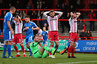 Frustration for Matt Godden (C) as Danny Newton of Stevenage goes close to a goal during Stevenage vs Notts County, Sky Bet EFL League 2 Football at the Lamex Stadium on 11th November 2017
