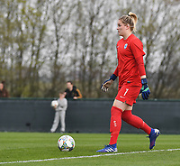 20190406  - Tubize , BELGIUM : Finland's Katriina Talaslahti pictured during the soccer match between the women under 19 teams of Belgium and Finland , on the second matchday in group 2 of the UEFA Women Under19 Elite rounds in Tubize , Belgium. Saturday 6 th April 2019 . PHOTO DIRK VUYLSTEKE / Sportpix.be