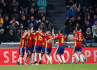 Spain Vitolo, third from left, partially seen, celebrates with teammates after scoring during the Fifa World Cup 2018 qualification soccer match between Italy and Spain at Turin's Juventus Stadium, October 6, 2016. The game ended 1-1.<br /> UPDATE IMAGES PRESS/Isabella Bonotto