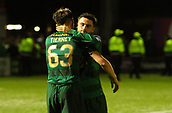 8th September 2017, SuperSeal Stadium, Hamilton, Scotland; Scottish Premier League football, Hamilton versus Celtic; Celtic's Kieran Tierney and Patrick Roberts embrace after the final whistle