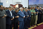 Palestinian President Mahmoud Abbas attends a morning prayer celebrating the Eid al-Adha festival in the West Bank city of Ramallah, on August 11, 2019. Muslims are celebrating Eid al-Adha (the feast of sacrifice), the second of two Islamic holidays celebrated worldwide marking the end of the annual pilgrimage or Hajj to the Saudi holy city of Mecca. Photo by Thaer Ganaim