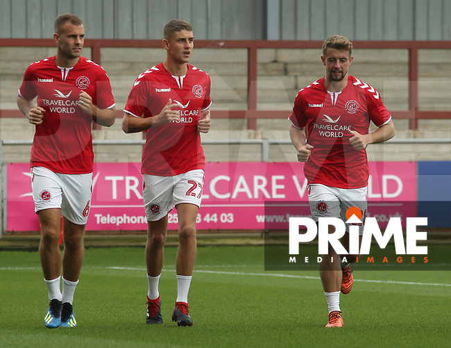 Players warm up ahead of the Sky Bet League 1 match between Fleetwood Town and Rochdale at Highbury Stadium, Fleetwood, England on 18 August 2018. Photo by Stephen Gaunt / PRiME Media Images.