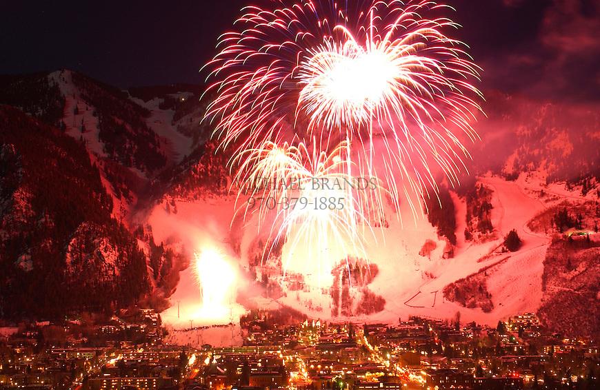 Winterskol fireworks over Aspen, Colorado. © Michael Brands. 970-379-1885.