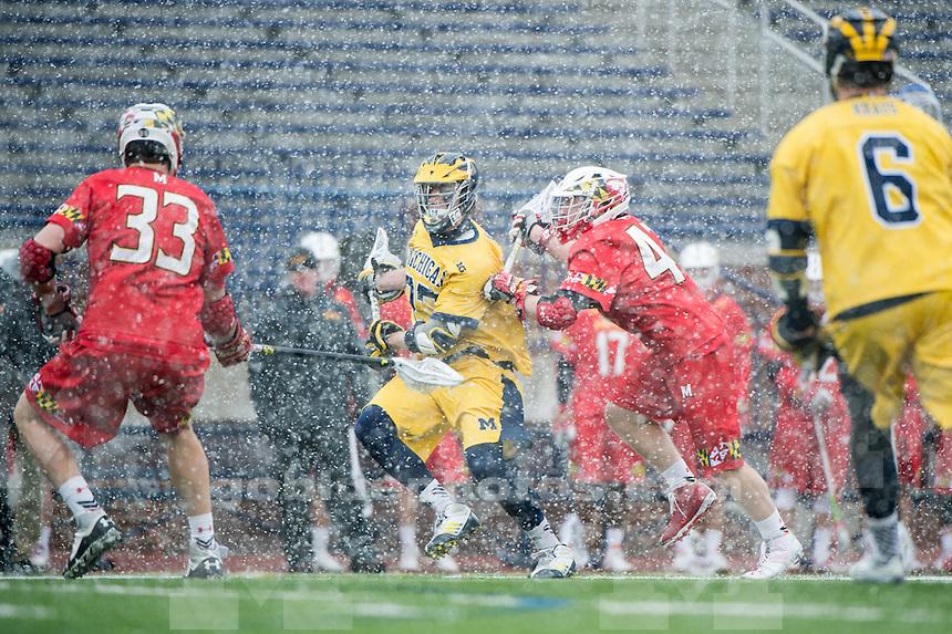 The University of Michigan men's lacrosse team falls to Maryland, 8-7, at Michigan Stadium in Ann Arbor, MI on April 2, 2016.