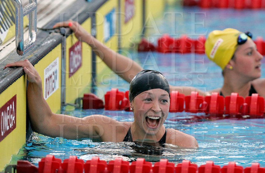 Ariana Kukors of the United States reacts after winning the gold medal and setting a world record clocking 2.06.15 in a women's 200 meters medley event at the Swimming World Championships in Rome, 27 July 2009..UPDATE IMAGES PRESS/Riccardo De Luca