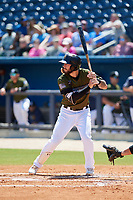 Biloxi Shuckers third baseman Lucas Erceg (17) at bat during a game against the Jacksonville Jumbo Shrimp on May 6, 2018 at MGM Park in Biloxi, Mississippi.  Biloxi defeated Jacksonville 6-5.  (Mike Janes/Four Seam Images)