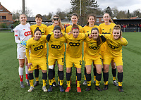 20200329 – BRUGGE, BELGIUM : Standard's players with Lisa Lichtfus , Maurane Marinucci , Sylke Calleeuw , Ellen Charlier , Sanne Schoenmakers , Lisa Petry , Lola Wajnblum , Noemie Gelders , Justine Blave , Elien Nelissen and Sophie Strepenne  pictured posing for the teampicture during a women soccer game between Dames Club Brugge and Standard Femina de Liege on the 17 th matchday of the Belgian Superleague season 2019-2020 , the Belgian women's football  top division , saturday 29 th February 2020 at the Jan Breydelstadium – terrain 4  in Brugge  , Belgium  .  PHOTO SPORTPIX.BE | DAVID CATRY