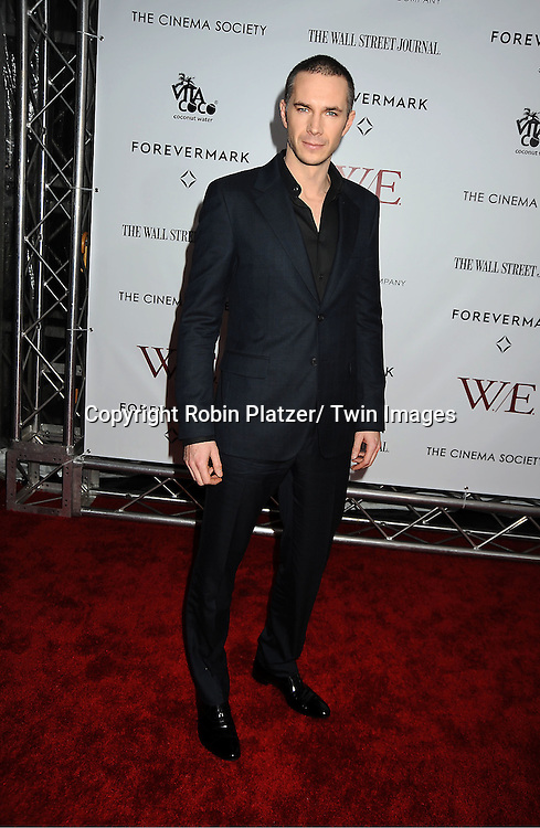 """actor James D' Arcy arrives for the New York Premiere of """"W.E."""" on ..January 23, 2012 at The Ziegfeld Theatre in New York City. Madonna directed the movie. The sponsors of the premiere are The Weinstein Company, The Cinema Society and Forevermark."""