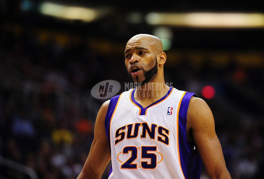 Mar. 30, 2011; Phoenix, AZ, USA; Phoenix Suns guard (25) Vince Carter against the Oklahoma City Thunder at the US Airways Center. Mandatory Credit: Mark J. Rebilas-.