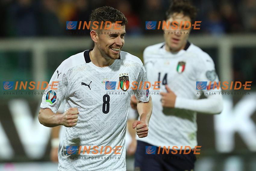 Italy's Jorginho celebrates after scoring the 5-0 goal on penalty kick<br /> Palermo 18-11-2019 Stadio Renzo Barbera <br /> UEFA European Championship 2020 qualifier group J <br /> Italy - Armenia <br /> Photo Carmelo Imbesi / Insidefoto