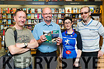 Dave Cotter Terry Culloty Kerina Kelliher and Humphrey O'Leary, pictured at the book launch of Cycling Kerry, at O'Mahony's Book Shop, Tralee on Friday evening last.