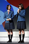 January 16, 2017, Tokyo, Japan - (L-R) Japanese actresses Suzu Hirose (L) and Sakurako Ohara attend a promotional event for Japanese telecom giant Softbank's new service of students discount rate in Tokyo on Monday, January 16, 2017. Softbank also announced Softbank and Yahoo Japan will have a large promotion of their e-commerce.   (Photo by Yoshio Tsunoda/AFLO) LWX -ytd-