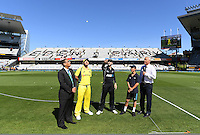 Captains Kane Williamson and Aaron Finch with the ANZ coin toss winner. International One Day Cricket. Chappell–Hadlee Trophy, Game 1. Eden Park Monday 30 January 2017 © Copyright photo: Andrew Cornaga / www.photosport.nz