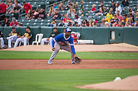 O'Koyea Dickson (23) of the Oklahoma City Dodgers on defense against the Salt Lake Bees in Pacific Coast League action at Smith's Ballpark on May 25, 2015 in Salt Lake City, Utah.  (Stephen Smith/Four Seam Images)