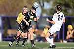 21 October 2012: Iowa's Katie Nasenbenny (27) and Northwestern's Jackie Alyinovich (24). The Northwestern University Wildcats played the University of Iowa Hawkeyes at Lakeside Field in Evanston, Illinois in a 2012 NCAA Division I Women's Soccer game. Northwestern won the game 1-0.
