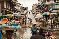 Street scene at Waterside Market in Monrovia, Liberia.