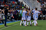 CD Leganes's players celebrate goa during La Liga match between CD Leganes and FC Barcelona at Butarque Stadium in Madrid, Spain. September 26, 2018. (ALTERPHOTOS/A. Perez Meca)
