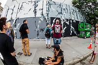 New York, NY 12 September 2015 -  Street scene at the Bowery Mural as Futura (aka Lenny McGurr, Futura 2000) works on a new painting.