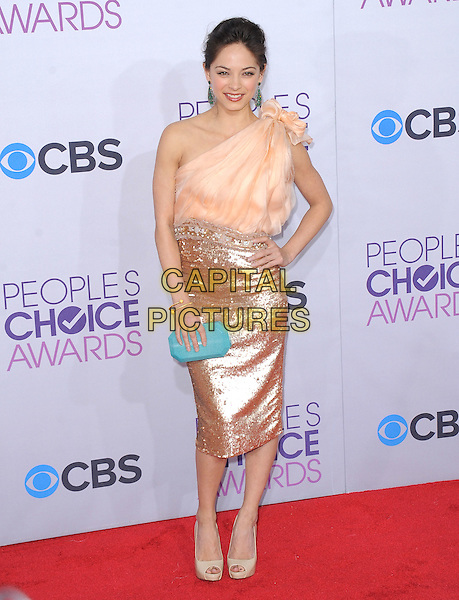 Kristin Kreuk.The 2013 People's Choice Awards held at Nokia Live in Los Angeles, California 9th January 2013                                                                   .full length skirt top sequins sequined green clutch bag teal hand on hip pink peach one shoulder green turquoise .CAP/DVS.©DVS/Capital Pictures.