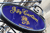 The Ritz-Carlton  sign on their hotel in downtown Montreal