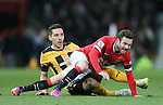 Tom Champion of Cambridge Utd challenges Juan Mata of Manchester United - FA Cup Fourth Round replay - Manchester Utd  vs Cambridge Utd - Old Trafford Stadium  - Manchester - England - 03rd February 2015 - Picture Simon Bellis/Sportimage