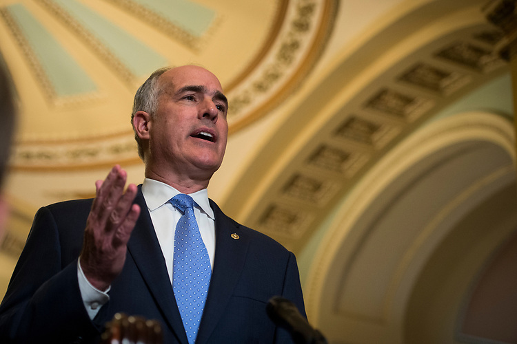 UNITED STATES – June 26:  Sen. Bob Casey, D-Pa., speaks to the press after the Senate Democrats' policy lunch in the Capitol on Tuesday, June 26, 2018.  (Photo By Sarah Silbiger/CQ Roll Call)