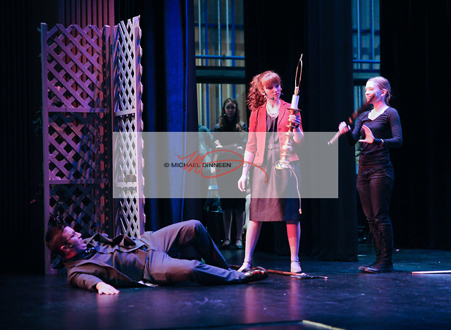 CHS' Albert Peterson as Liam Dooley has been bludgeoned by CHS' Kathryn Bistodeau as Rosie Alvarez.