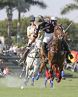 WELLINGTON, FL - FEBRUARY 05:  Lucas Criado #2 of Orchard Hill, drives the ball down the field, during one of the early matches of the Ylvisaker Cup at the International Polo Club Palm Beach on February 05, 2017 in Wellington, Florida. (Photo by Liz Lamont/Eclipse Sportswire/Getty Images)