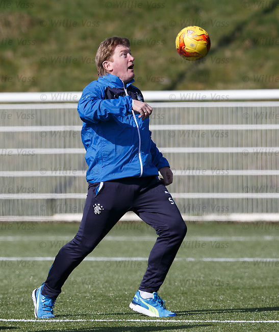 Stuart McCall gets a feel for the bounce of the ball on the astro park