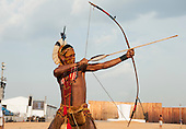 A Pataxo archer takes aim. International Indigenous Games in Brazil. 29th October 2015