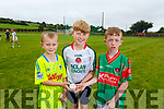 Eoghan Galvin, Alex Relihan and Daniel Diggins, enjoying the hurling CúI camp in Crotta O'Neills on Monday.