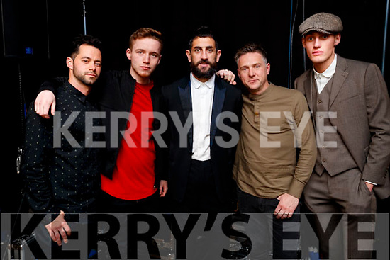 Timmy Dowd, Eoin Rochford, Paul Galvin, Sam Donnelly and Aubrey O'Mahony, models at the Dunnes Stores and Paul Galvin Shelby Autumn Winter Fashion Show held at the Brandon Hotel, Tralee on Friday night last.