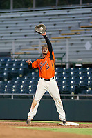 AZL Giants first baseman Angeddy Almanzar (21) catches a ball during a game against the AZL Angels on July 10, 2017 at Scottsdale Stadium in Scottsdale, Arizona. AZL Giants defeated the AZL Angels 3-2. (Zachary Lucy/Four Seam Images)