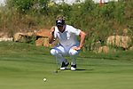Luke Donald (ENG) lines up his putt on the 13th green during the morning Semi-Final session on the Final Day of the Volvo World Match Play Championship in Finca Cortesin, Casares, Spain, 22nd May 2011. (Photo Eoin Clarke/Golffile 2011)