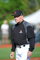 Rutgers University Scarlet Knights Head Coach Fred Hill during game against the University of Connecticut Huskies at Bainton Field on May 3, 2013 in Piscataway, New Jersey. Connecticut defeated Rutgers 3-1.      . (Tomasso DeRosa/ Four Seam Images)