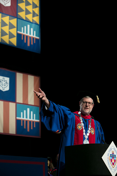 The Rev. Dennis H. Holtschneider, C.M., president of DePaul, offers remarks Saturday, June 10, 2017, during the DePaul University School for New Learning commencement ceremony at the Rosemont Theatre in Rosemont, IL. (DePaul University/Jeff Carrion)