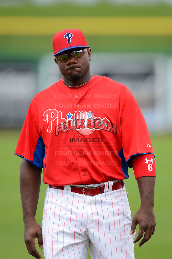 Philadelphia Phillies first baseman Ryan Howard #6 before a Spring Training game against the New York Yankees at Bright House Field on February 26, 2013 in Clearwater, Florida.  Philadelphia defeated New York 4-3.  (Mike Janes/Four Seam Images)