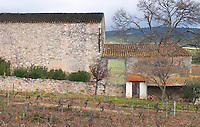 The winery building and an outhouse. The roof of the winery building is black because a certain type of black coloured fungus feeds from the alcohol vapours evaporation and thus thrives on the roof of the winery - just like the roofs on cognac houses are black, whereas the adjacent out house roof is not black because there is no alcohol evaporation in that building. Chateau Villerambert-Julien near Caunes-Minervois. Minervois. Languedoc. The winery building. France. Europe.