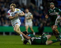 Exeter Chiefs' Stu Townsend evades the tackle of London Irish's Saia Fainga'a<br /> <br /> Photographer Bob Bradford/CameraSport<br /> <br /> Gallagher Premiership - London Irish v Exeter Chiefs - Sunday 5th January 2020 - Madejski Stadium - Reading<br /> <br /> World Copyright © 2020 CameraSport. All rights reserved. 43 Linden Ave. Countesthorpe. Leicester. England. LE8 5PG - Tel: +44 (0) 116 277 4147 - admin@camerasport.com - www.camerasport.com